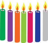 Coloridas velas encendidas — Vector de stock