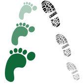 Carbon footprints increasing — Stock Vector