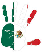 Mexico flag in hand print — Stock Vector
