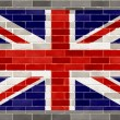 Royalty-Free Stock Photo: Flag of great britain on large rough gray brickswall