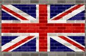 Vlajka velké británie na velkých hrubé šedé brickswall — Stock fotografie