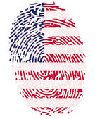 Thumbprint Flag Colors of United States of America — Stock Vector