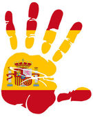 Hand print of Spain flag colors — Stock Vector
