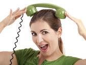愚かな電話の女の子 — ストック写真
