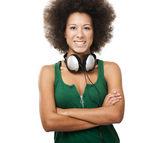 Hermosa chica con auriculares — Foto de Stock