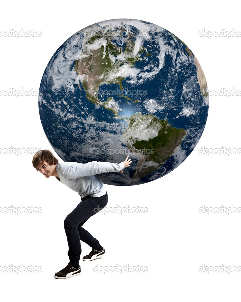 Handsome young man carying the planet earth on its backs, isolated on white — Stock Photo #10170232