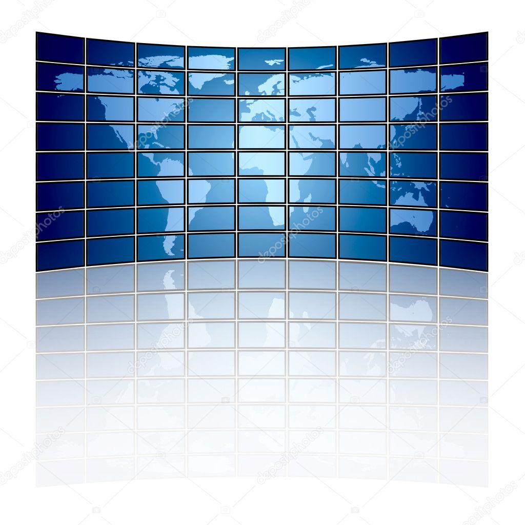 Large tv panel compound by a lot of screens displaying the world map — Stock Photo #8537155