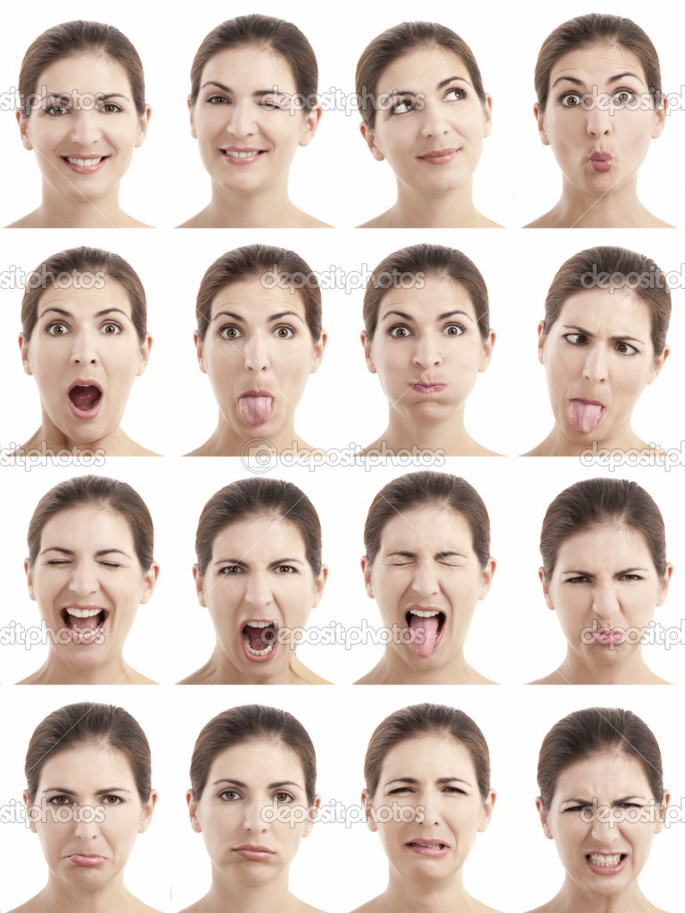 Multiple close-up portraits of the same woman expressing different emotions and expressions  Stock Photo #8696157