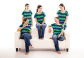 Five twins sisters — Stock Photo