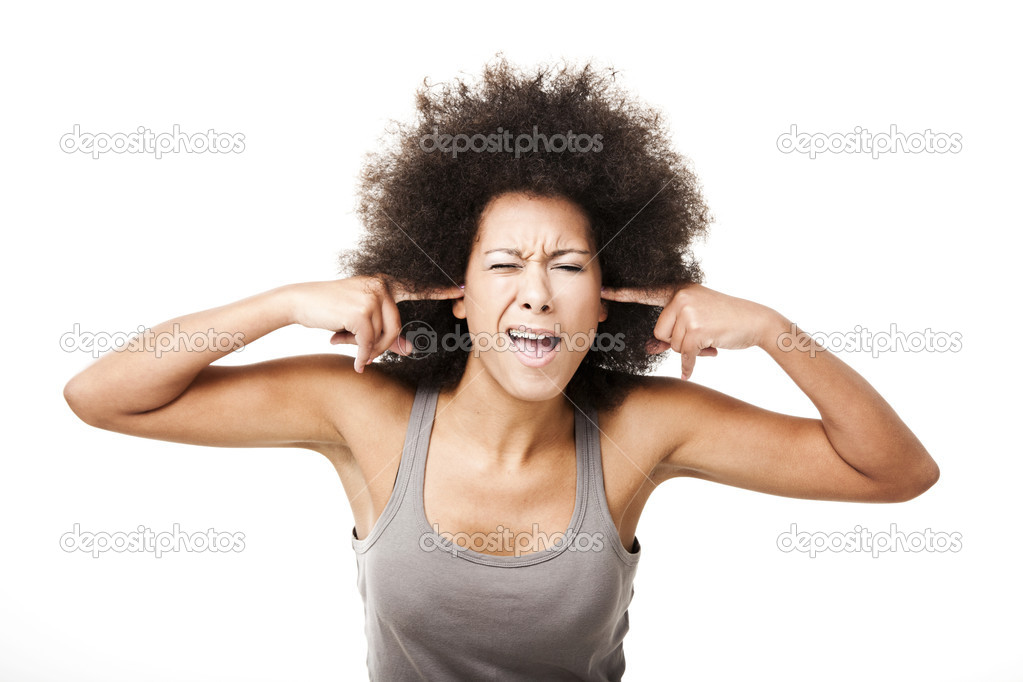 Beautiful Afro-American woman doing a silence gesture with fingers on the ears, isolated on white — Stock Photo #8982970