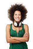 Linda menina com fones de ouvido — Foto Stock