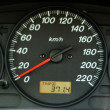 Stock Photo: Car dashboard with speed and odometer