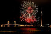 Celebration of New Year with fireworks — Stock Photo