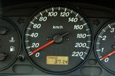 Car dashboard with speed and odometer — Stock Photo