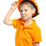Junge im Bau Helm — Stockfoto