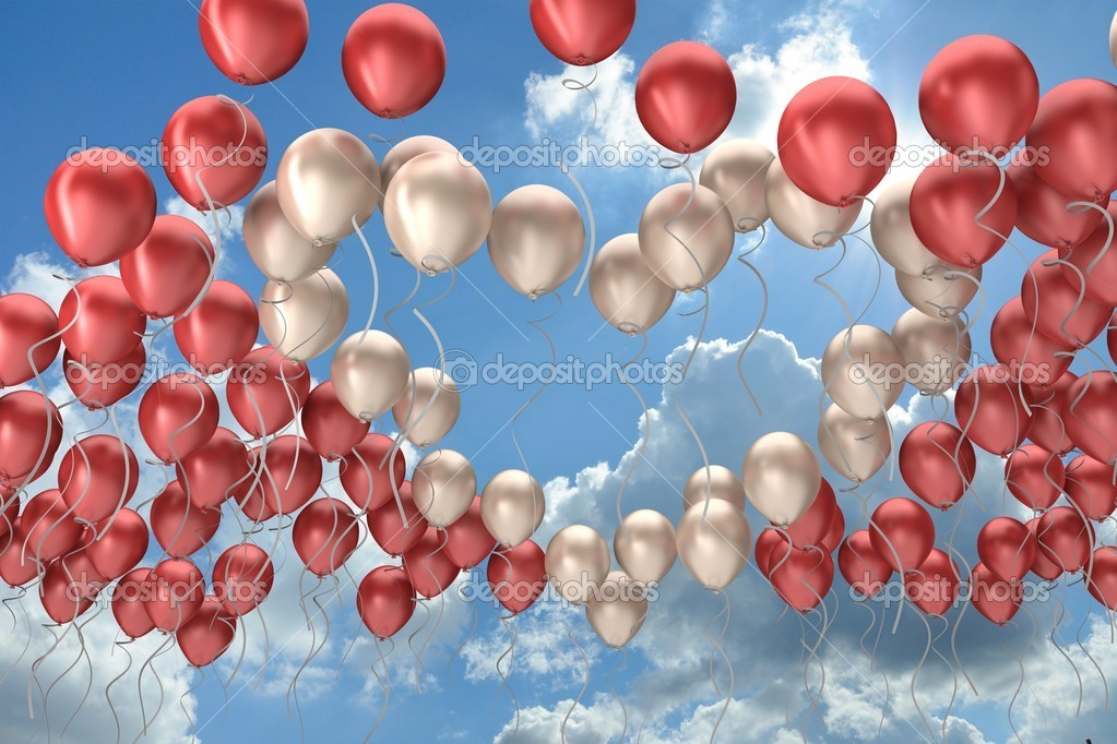 Heart symbol, flying colorful balloons in the sky — Stock Photo #8902825