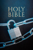 Bible closed with a chain lock — Stock Photo