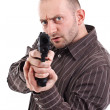 Gunman ready to shoot — Stock Photo
