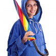 Beautiful female whit umbrella — Stock Photo #10578838
