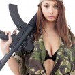 Beautiful woman with rifle — Stock Photo #10578997