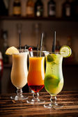 Three fresh cocktails — Stock Photo