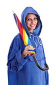 Beautiful female whit umbrella — Stock Photo