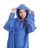 Female wearing raincoat — Stock Photo