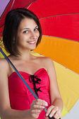 žena s deštníkem rainbow — Stock fotografie