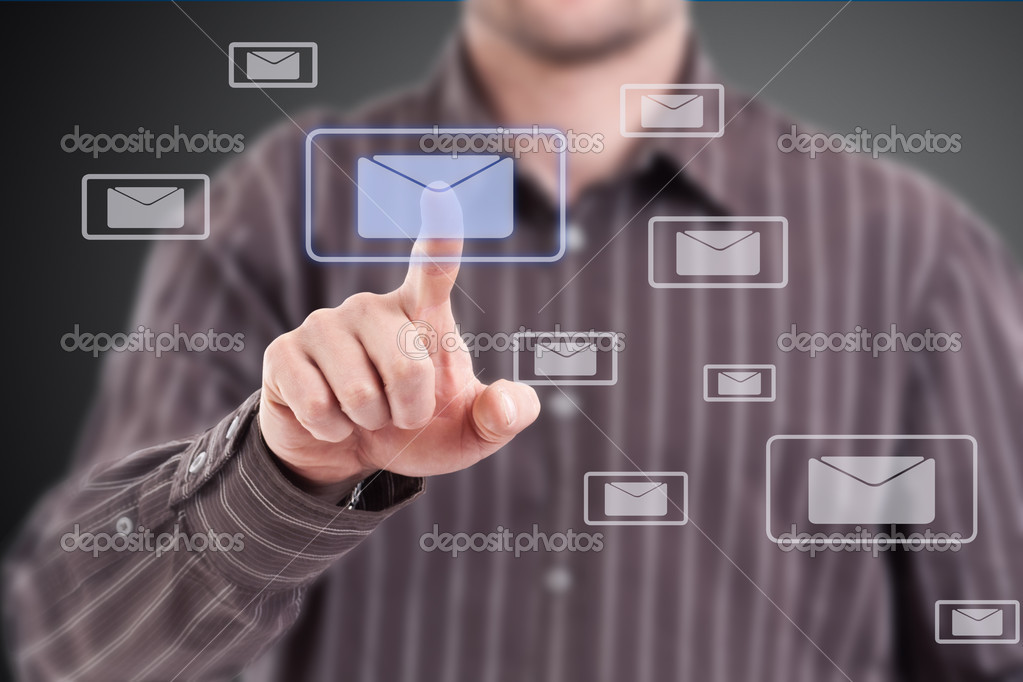 Man pressing mail symbol, modern technology — Stock Photo #10578405