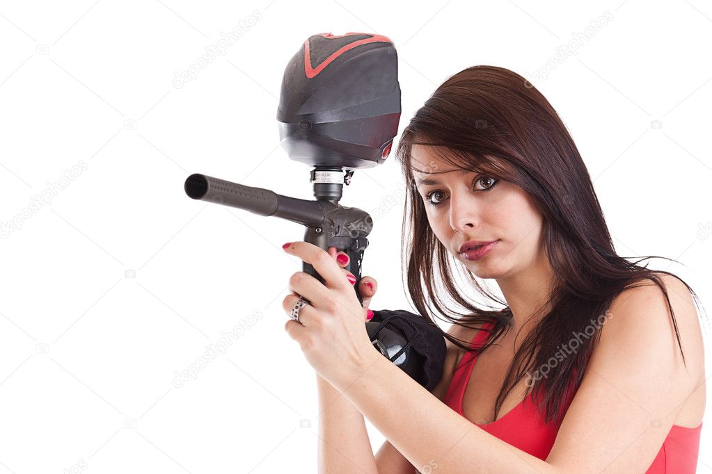 Sexy young freestyle girl posing like playing paintball — Stock Photo #10578899