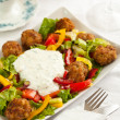 Mixed salad whit meatballs — Stock Photo