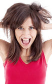 Portret of screaming woman — Stock Photo