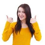 dívka zvednutý palec — Stock fotografie