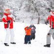 Family playing with snow — Stock Photo #9203220