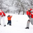 Foto Stock: Family playing with snow