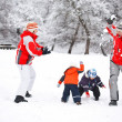 Stock Photo: Snowball fight