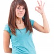 Woman gesturing a okay sign — Stock Photo