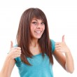 Success woman showing thumbs up — Stock Photo