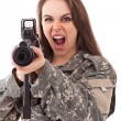 Woman girl with gun — Stock Photo #9203578