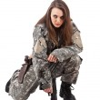 Young woman soldiers with gun — Stock Photo #9203601
