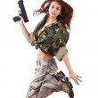 Young woman soldiers with guns — Stock Photo #9203973