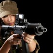 Young soldiers with guns — Stock Photo