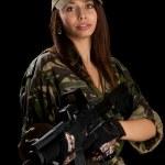 sexy donna in uniforme militare — Foto Stock