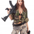 Young woman soldiers — Stock Photo