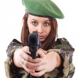 Young woman soldiers with guns — Stock Photo #9203997