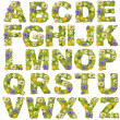Green leaf whit flower fonts — Stockfoto #9204344
