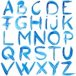 Stock Photo: Blue hand-written alphabet