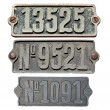 Old metal numbers — 图库照片