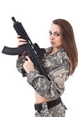 Young woman soldiers with gun — Stock Photo