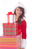 Miss Santa with gift box — Stock Photo
